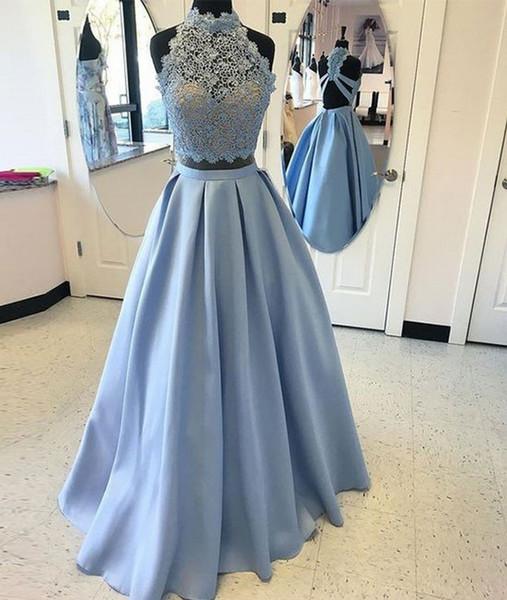 Hellblau Stehkragen Zwei Stücke Festzug Abendkleider Damenmode Brautkleid Besondere Anlässe Prom Brautjungfer Partykleid