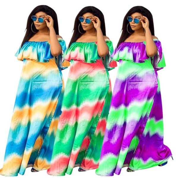 Women Summer Off shoulder Maxi dresses long skirts print colorful dress Casual beachwear party clothes loose skirt