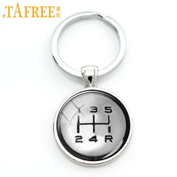 TAFREE Gear shift keychain fashion drivers jewelry shift Knob key chain high quality handmade driving lovers special gift KC401