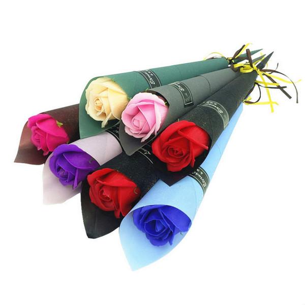 Baño al por mayor Cuerpo de baño Flor de rosa jabones Perfecto como boda Favores regalos de cumpleaños o decoración 6 colores flor jabón rosa
