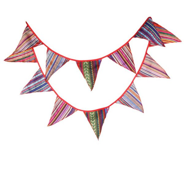3.3M Tent Red Flag Bunting Banners Gypsy National Wind Stripe Pennant Wedding Party Decor Flags SN2551