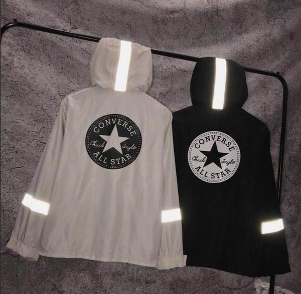 19SS Yeni Kuangwei Yüksek Kalite moda erkek tasarımcı 3 M Yansıtıcı Rüzgar Geçirmez ceket Erkekler ve kadınlar çiftler tasarımcı streetwear Tek Katmanlı