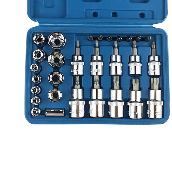 Hand Tools Universal Wrench 29 Pcs Sleeve Chrome Vnadium Slaeeve Socket Universal Key Torque Ratchet Wrench Set