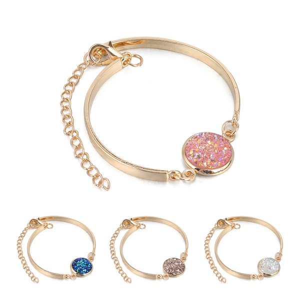 New Arrival Gold and Silver Plated Crystal Love Bracelet Natural Stone Charm Many Colors Girl's Jewelry