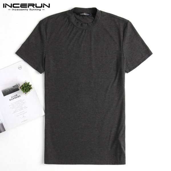 INCERUN Summer Men T-Shirt Sporting Bodybuilding Joggers T Shirts Muscle Tee Tops Short Sleeve Knitting Slim Fit Tee Clothes