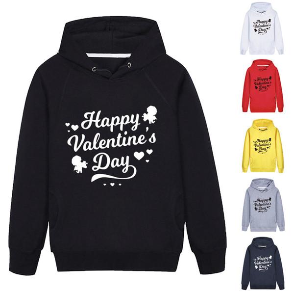 Frauen glücklich Valentinstag Hoodies Tops Langarm-Brief mit Kapuze Pullover outwear Mantel-Herbst-Winter Hoodie LJJA3699-3