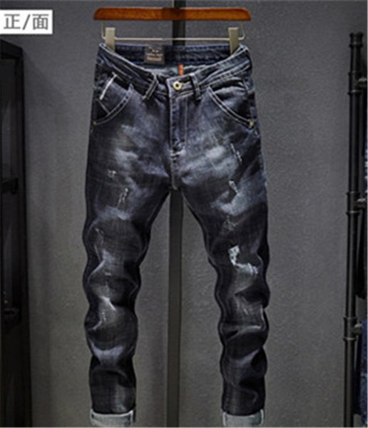 Men Distressed Ripped Jeans Fashion Designer Straight Motorcycle Biker Jeans Causal Denim Pants Streetwear Style Jeans Cool Size 28-36