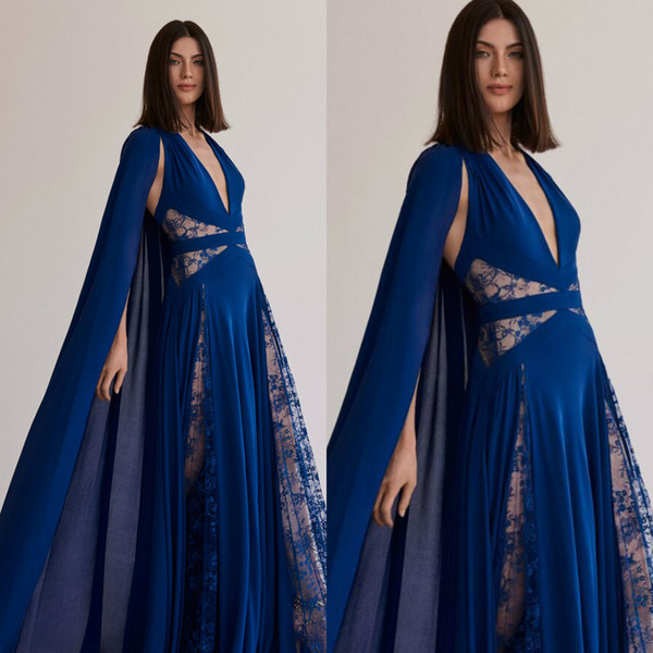 Elie Saab Royal Blue Evening Dresses With Wrap V Neck Lace Illusion Chiffon Prom Dress Party Wear A Line Sweep Train Formal Gowns