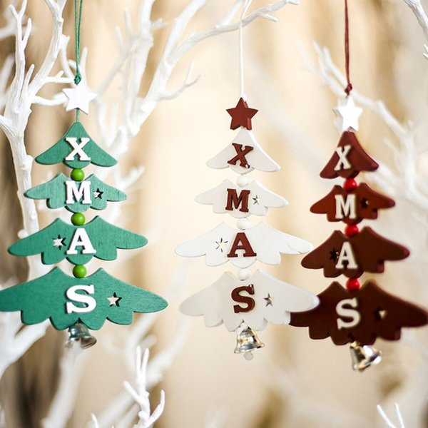 Noel Alfabe Ahşap Noel Ağacı Çan Asılı Kolye Süs DIY Ahşap El Sanatları Çocuklar Hediye için Ev Partisi Dekorasyon X4YD