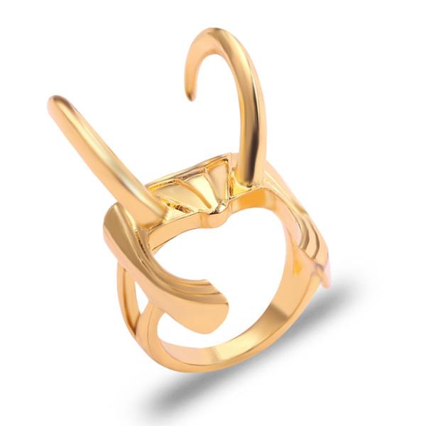The Avengers Jewelry The Dark World Loki Helmet Rings Cool Thor Ring Stereoscopic Golden Alloy Corner For Men&Women Accessories