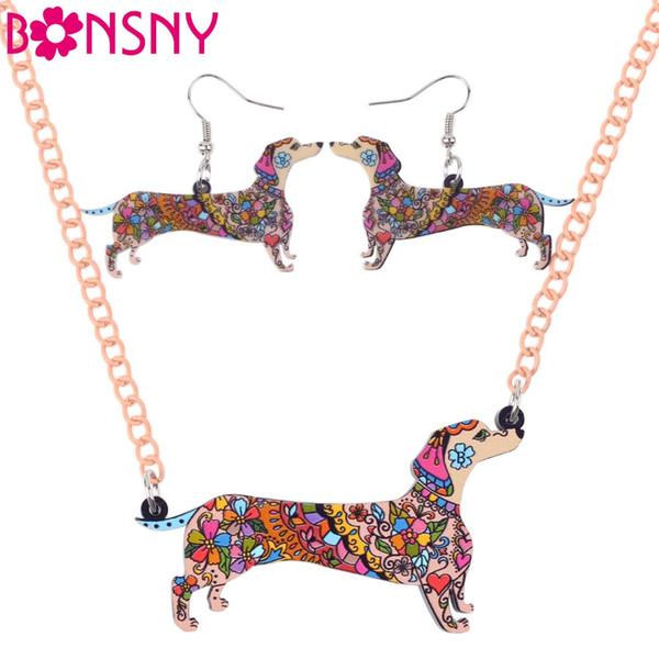 Bonsny Brand Jewelry Sets Acrylic Statement Dachshund Dog Necklace Earrings Choker Collar Fashion Jewelry For Women Girl