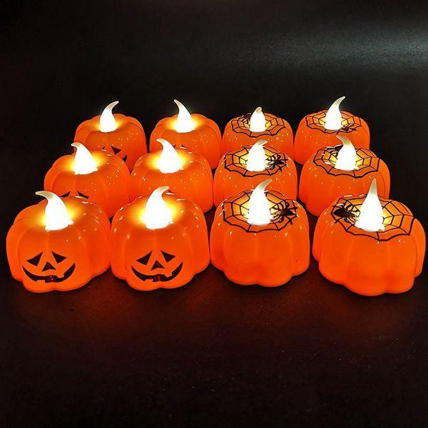 top popular Halloween Pumpkin Lamp Plastic Pumpkin Candle Light Halloween Decoration Cute Creative for Home Bar Dining Decoration HHA774 2020