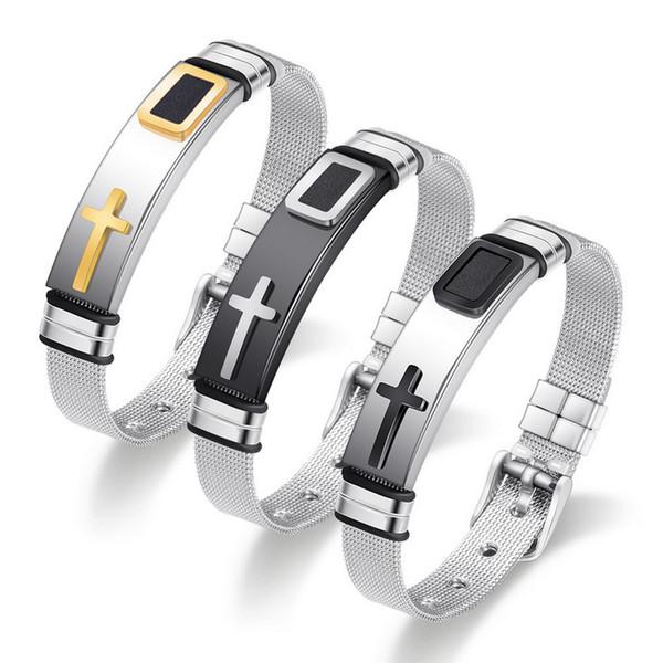 Bracelet Bangle Jewelry 2019 Brand New Fashion Unisex Stainless Steel Mesh Strap Bracelets Wholesale Cross Pin Buckle Link Bracelet LBR026
