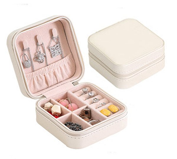 Small PU Leather Travel Jewelry Box Organizer Display Storage Case for Gifts