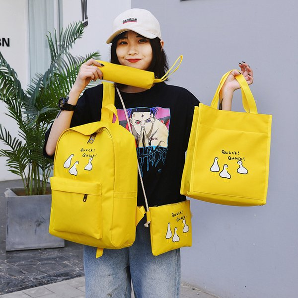 Fairy2019 School Middle High College Student A Bag Woman Literature Girl Campus Backpack Both Shoulders Package Four Paper Set