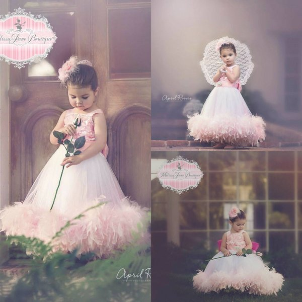 Tea Rose Girls Feather Dress Square Neck A Line 3D Floral Flower Cute Girls Pageant Dress Custom Made Girls Birthday Gowns