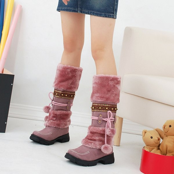 SAILING LU Women Boots Faux Fur Winter Boots Ladies Lace-up Bootie Warm Footwear Platform Flats Shoes Female Cute Booten XWX7071