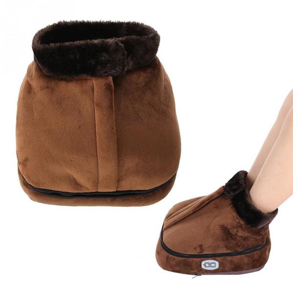 Non-slip Unisex Velvet Electric Heated Foot Warmer Massager Big Slipper Office Home Thermal Foot Warmer Cushion Feet Massager