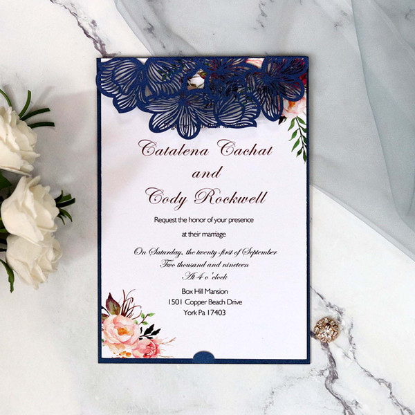Laser Cut Rose Hollow Out 18 12 5cm Invitation Card Elegant Greeting Card Customize Business Rsvp Wedding Party Decor Birthday Card Messages Birthday
