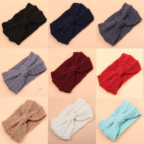 Winter Thick Knit Headband Turban Ear Warmer Warm Crochet Bow Headband For Lady Women Head Bands Knitting Headwraps Hair Accessories LE185