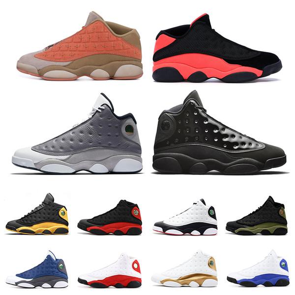 Die neuesten 13 13s Herren Basketballschuhe Atmosphere Grey Cap und Gown Clot Sepia Stone Bred Chicago XII Höhe DMP-Sportschuhe Größe 7-13