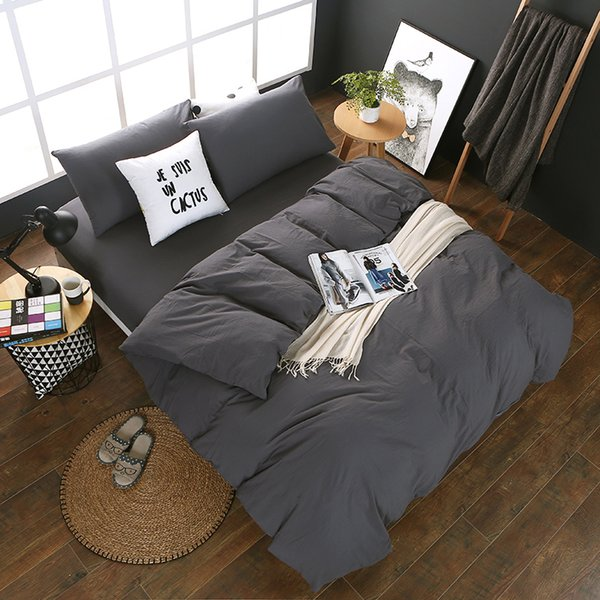 Simple European Dark Gray Solid Color Single Product Single Product 1 PC Duvet Cover Polyester Home-Textile 7 Size For Choose