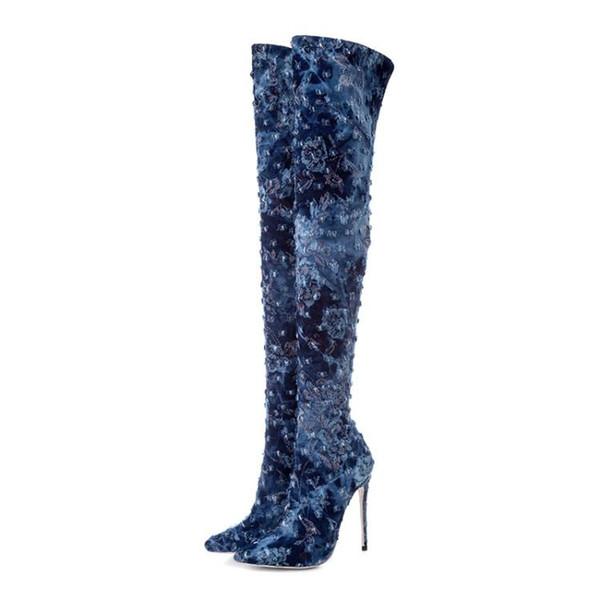 ZK Женская обувь 12см высокие каблуки Ковбойские сапоги на коленях Китай size34--45