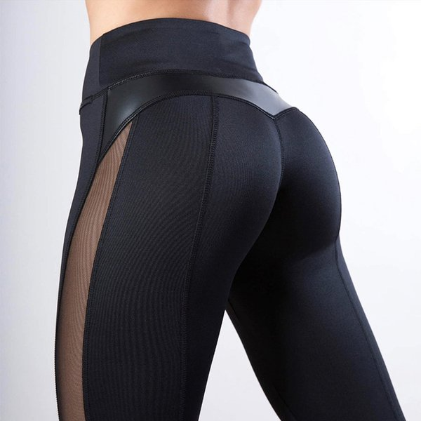 New! PU Leather Fitness Leggings Sexy Mesh Splice Women Booty Push Up Leggins Black Skinny Dry Quick Pants Drop Shipping Y190603
