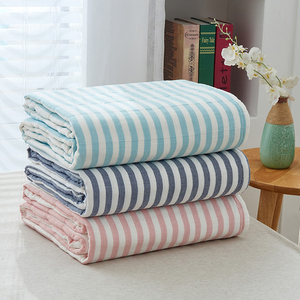 iDouillet New Striped Jacquard Cotton Muslin Adult Throw Blanket for Bed Sofa Couch Summer Thin Quilt Coverlet Twin Full Size