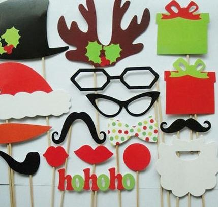 New Arrive 17 pcs/lot DIY Photo Booth Props Mustache Lip Hat Antler Gift Stick Christmas Party H092 20set