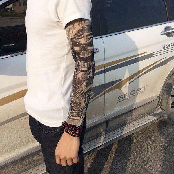 Moda Elástico Mangas del tatuaje Montar cuidado UV cuidado fresco impreso a prueba de sol brazo protección guante falso tatuaje temporal para mujeres