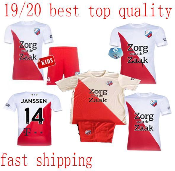 19 20 FC Utrecht jerseys Kit Niños Inicio Fútbol 2020 camiseta de fútbol Niño Utrecht uniformes del fútbol de los muchachos jóvenes kit personalizado jersey + pantalones cortos