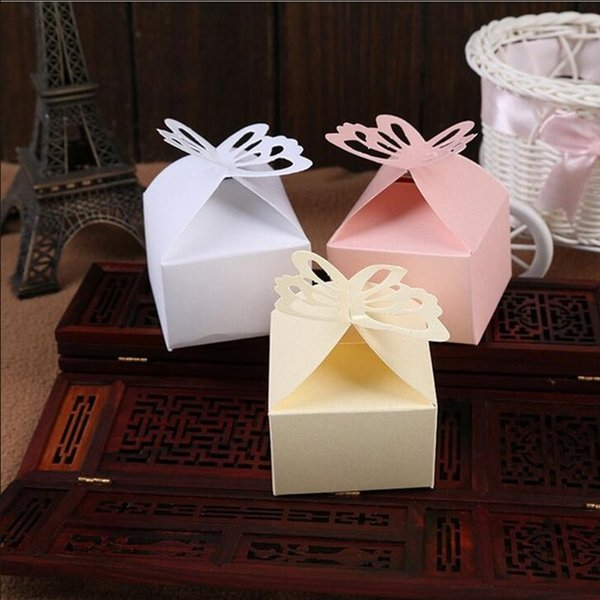 White Pink Yellow Color Folding Paper Butterfly Gift Candy Box for Romantic Engagement Party Wedding Supplies