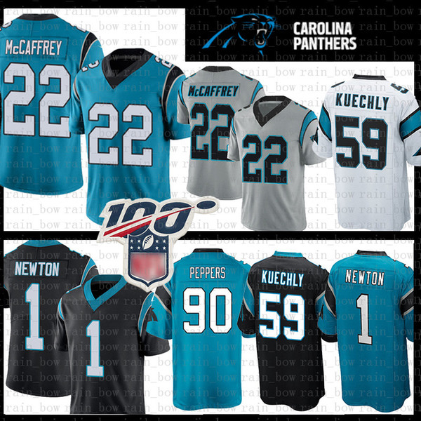 carolina 22 christian mccaffrey 2020 new jersey panther 1 cam newton 59 luke kuechly 90 julius peppers football jerseys grey 1 piece new, Black;red