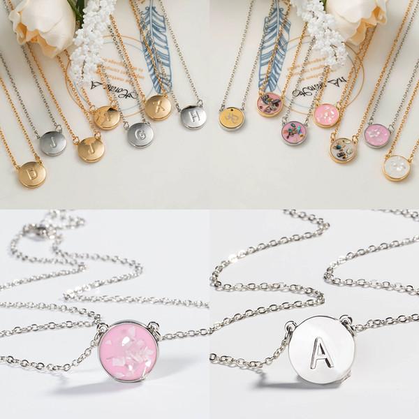 2019 hot alfabeto letra inicial colar de prata banhado a ouro branco shell designer de jóias colar designer de jóias de luxo colar de mulheres