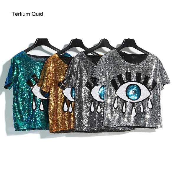 2018 Summer High Quality Woman Sequined Tops Shiny Big Eyes Girls Dancing T Shirt Short Crop Top Club