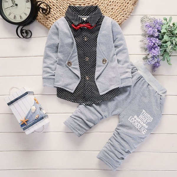 Toddler Baby kids fall outfits little maven boys Bow Dot Print Tops Letter Pants Gentlement Set Clothes erkek cocuk giyim #y3