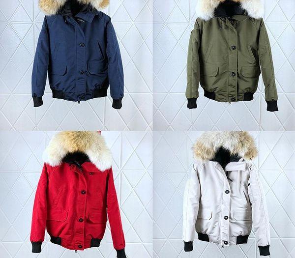 Женские зимние пальто дизайнер Fasion Вниз Bomber Jacket Wolf Fur Winter Park Goose PBI Arm Red Black Label держать в тепле