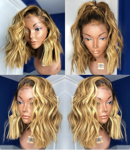 Ombre human hair wigs glueless #1B 27 two tone lace front human hair wigs full lace wig wave with bleached knots free shipping