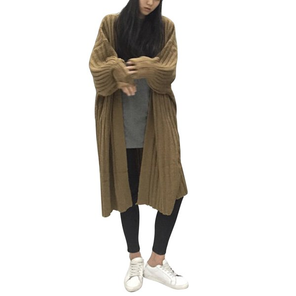 Fashion Women Long Cardigans Thin Sweater Coat Knitted Jacket Outwear Full Sleeve Winter Warm Sweater Coat Plus Size Soft