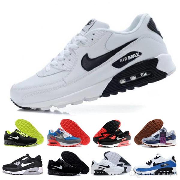 Alta calidad del amortiguador de aire 90 zapatos corrientes ocasionales Negro blanco barato rojas 90 mujeres de los hombres zapatillas de deporte clásico Air90 Trainer deportes al aire libre del zapato GZ6B