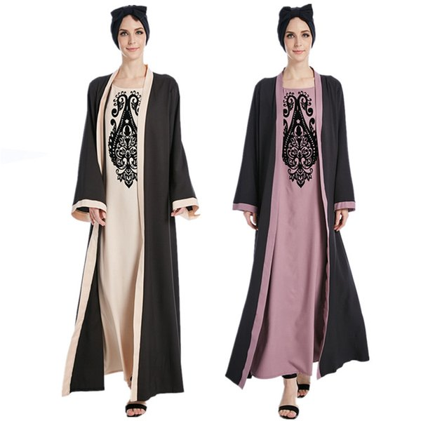 Abaya Dubai Musulman Robe Marocain Caftan À Manches Longues Pour Les Femmes Islamique Vêtements Ramadan Eid Turc Djellaba