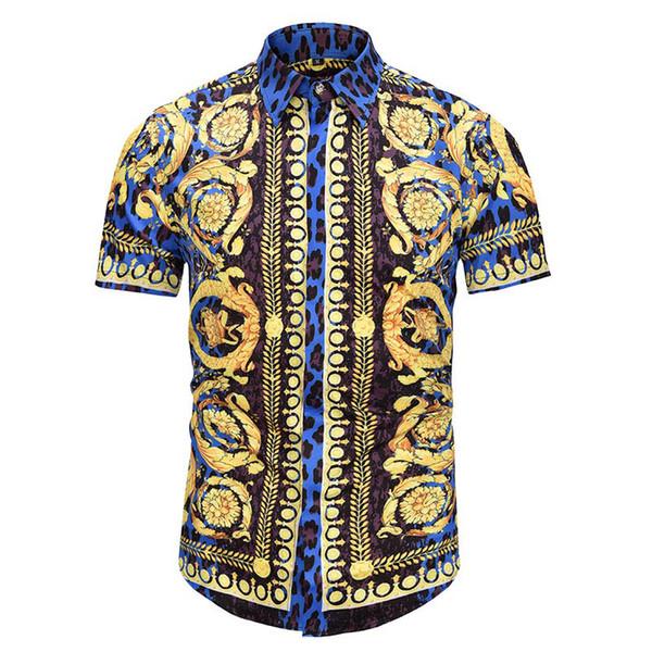2019 Casual Shirt Men's Printed Dress Top Color Print Slim Medusa Golden Chain Dog Rose Print Black Gold Fancy Shirt