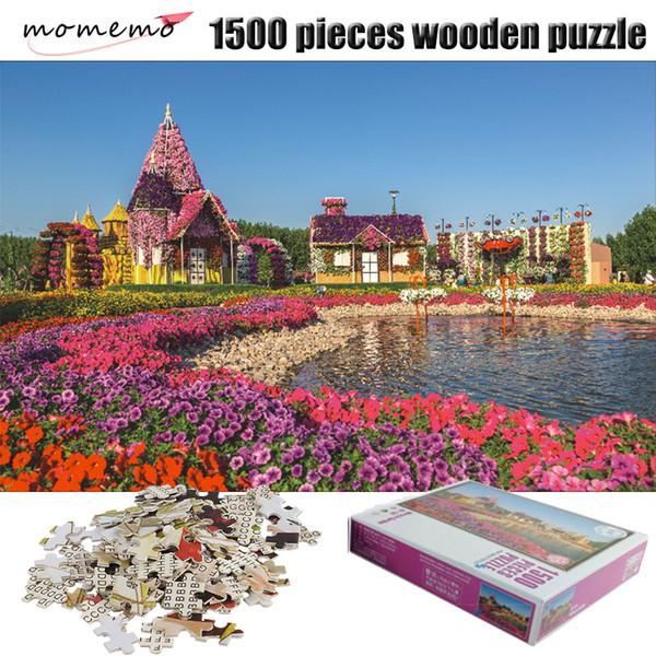 MOMEMO O Jardim 1500 Peças Paisagem Quebra-cabeça Adulto Quebra-cabeça Enigma De Madeira 1500 Peças de Montagem Puzzles Brinquedo para As Crianças
