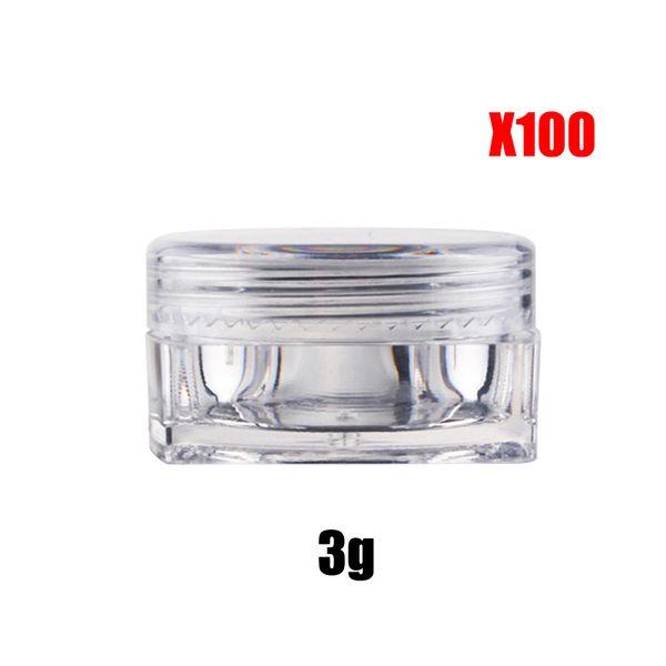 100X 3 gram Cream Jar perfume packaging cosmetics Container Clear Jar Small Sample Makeup Nail Powder Case