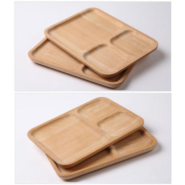Piatti per la cena per bambini Piatti in legno Divisi Snack Biscotti per pane Vassoi Frutta Dessert Piatti Rettangolo Legno Vassoi Eco Friendly BH1588 TQQ