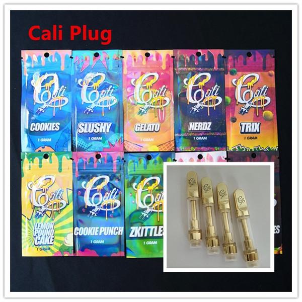 510 золотых тележек Cali Plug Vape Cartridge Керамическая катушка Золотой масляный картридж и голографические мешки на молнии для густого масла