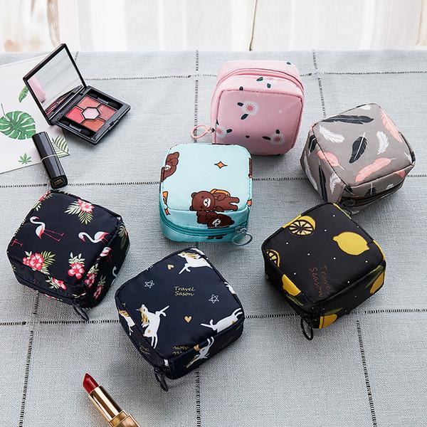 PACGOTH старинные печати животных фламинго цветок мини косметические сумки для женщин партии водонепроницаемый Оксфорд ткань помада мешок