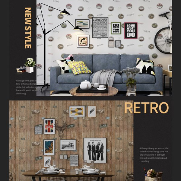 Bedroom Decor Waterproof Self-adhesive Wood Grain Vintage Poster Sticker Films Kids Room Wall Decor TV Background PVC Wallpaper