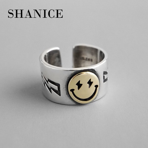 shanice men women s925 sterling silver open ring ins simple wide face smile face female ring personality silver party punk ring